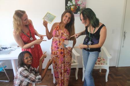 Anaa, Scheila e eu tínhamos que dar uma passadinha para desejar um 'bom parto' à Giu