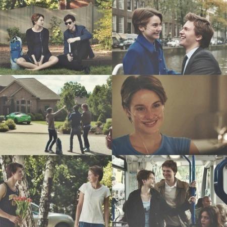 Nestas cenas, podemos ver Hazel (personagem principal) ao lado de Isaac (melhor amigo de Augustus) e, em seguida, o próprio Augustus.